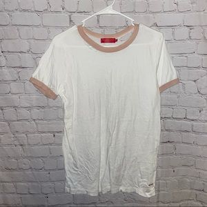 Philanthropy White Distressed Tee size small